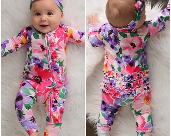 Zip romper Emilia Floral zippered outfit toddler zip outfit foldover foot pajamas bamboo christmas sweater matching siblings matching outfit