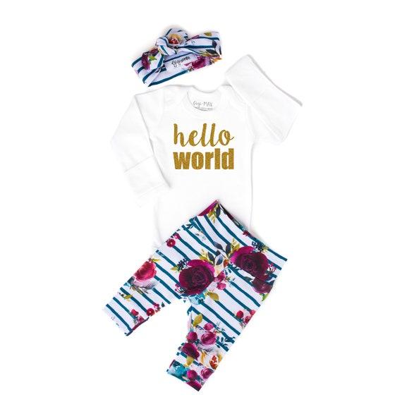 e1e6d69e8 Baby girl coming home outfit hello world fall Floral theme | Etsy