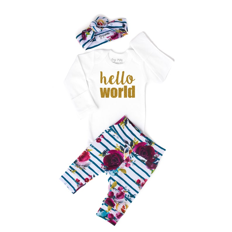 7fbd2d29f Baby girl coming home outfit hello world fall Floral theme | Etsy