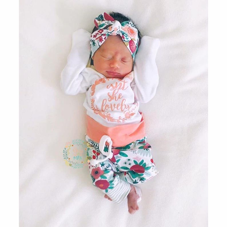 3926b4d49fb Newborn Baby girl coming home outfit Coral Isn t she
