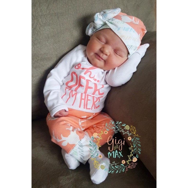 e66e7abc1fe6 Baby girl newborn coming home outfit Buck Coral Deer oh deer