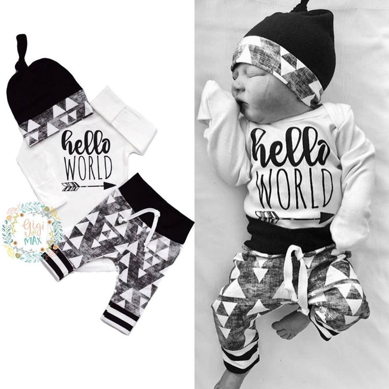 3f59724d6 Newborn boy organic coming home outfit black triangle theme   Etsy