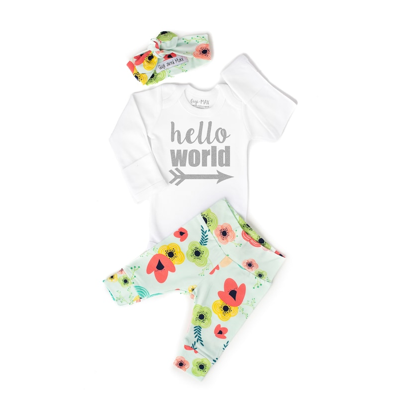 372fcb75df006 Newborn Baby coming home outfit Floral on Light Blue theme