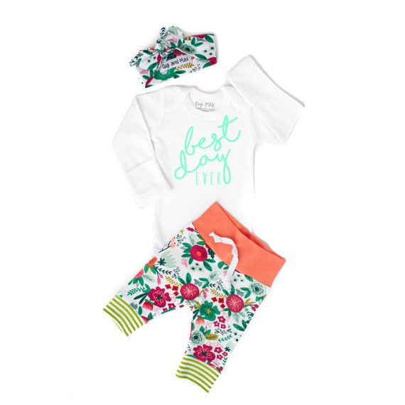 Baby Girl Coming Home Outfit Best Day Ever Coral Floral Theme Etsy