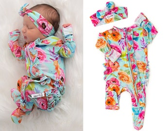 baby girl going home outfit zipper sleeper newborn Tessa Teal floral one piece zipper baby outfit coming home brand new baby shower