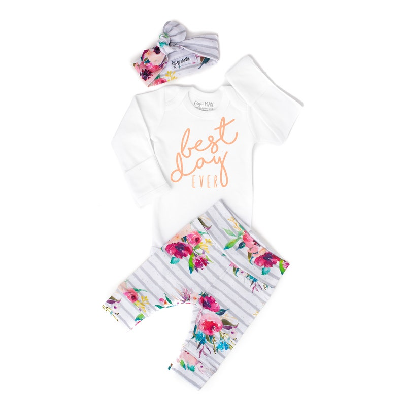 cace1528cd1 Baby girl coming home outfit best day ever watercolor Floral