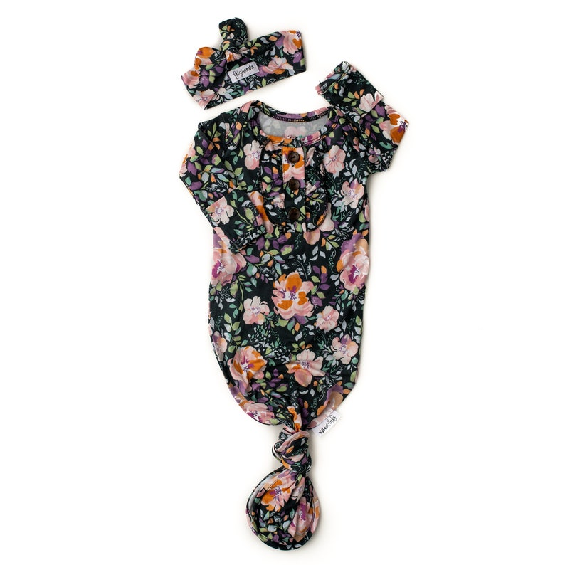 Newborn baby ruffle knotted button gown Willow floral gown baby gown coming home outfit button knot gown going home brand baby shower gift