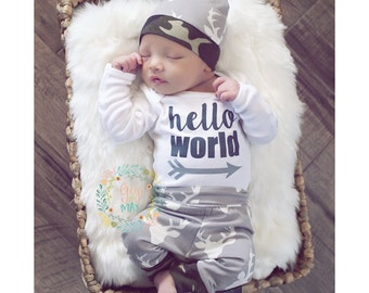 Baby boy READY TO SHIP coming home newborn outfit Deer and Camo theme going home set hello world baby shower gift coming homehospital outfit