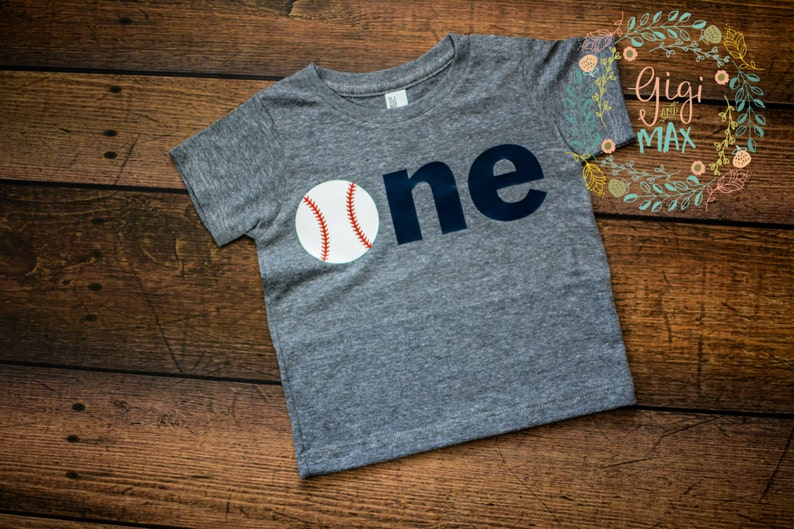 Baby Boy First Birthday Baseball Shirt ONE