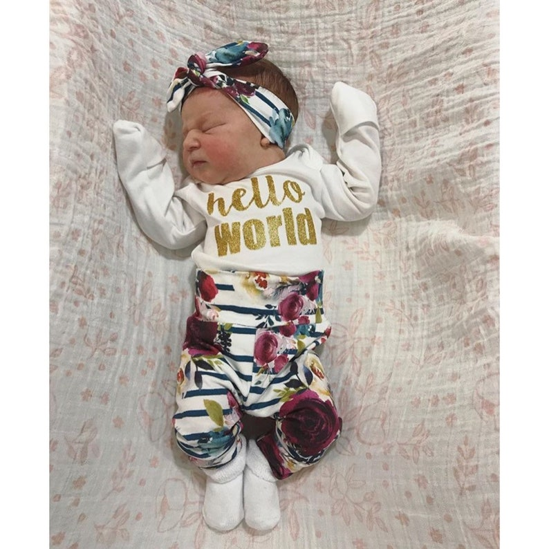 6e2e7304a Baby girl coming home outfit hello world fall Floral theme   Etsy