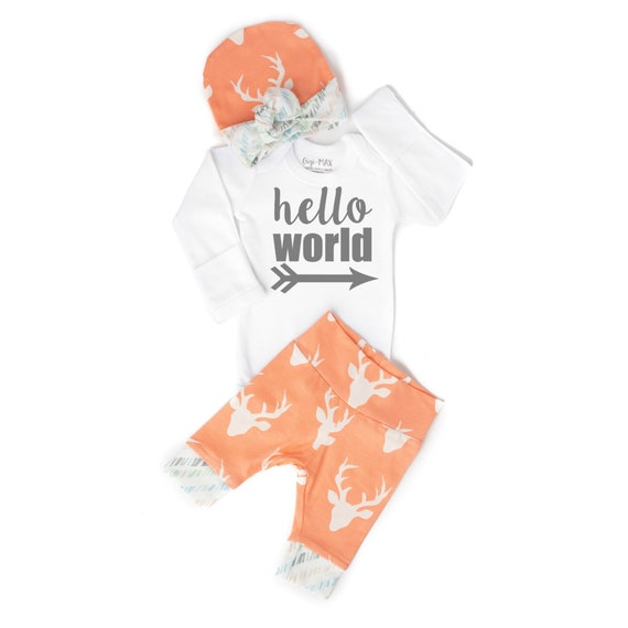 2d3c17c471c Newborn Baby coming home outfit Buck Coral Deer hello world