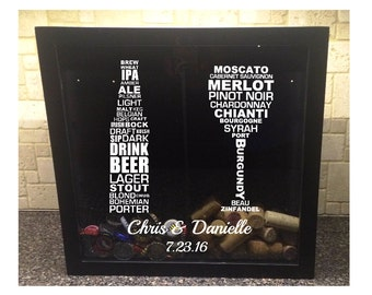 """Beer Bottle and Wine Glass Typography with Wedding Names & Date - Glass Beer Cap and Wine Cork Holder - Shadow Box (12"""" x 12"""")"""