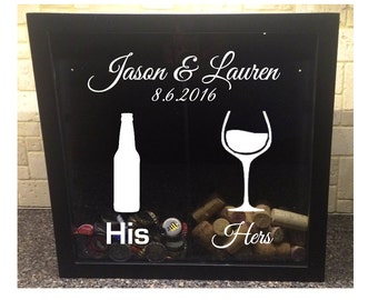 """His & Hers, Beer Bottle and Wine Glass with Custom Wedding Names and Date - Beer Cap and Wine Cork Holder - Shadow Box (12"""" x 12"""")"""