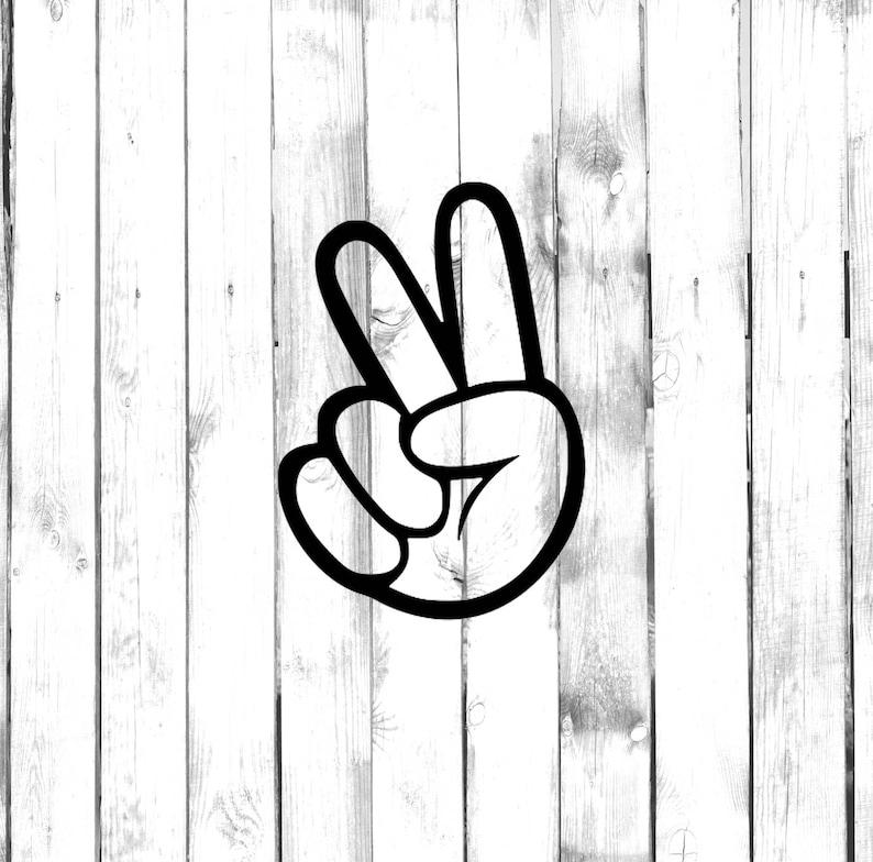 Di Cut Decal CarTruckHomePhoneComputerLaptop Decal Two Fingers Hand Peace Sign