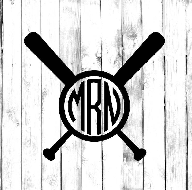 Baseball Bat Monogram Sports Monogram Decal Di Cut Decal HomeLaptopComputerTruckCar Bumper Sticker Decal