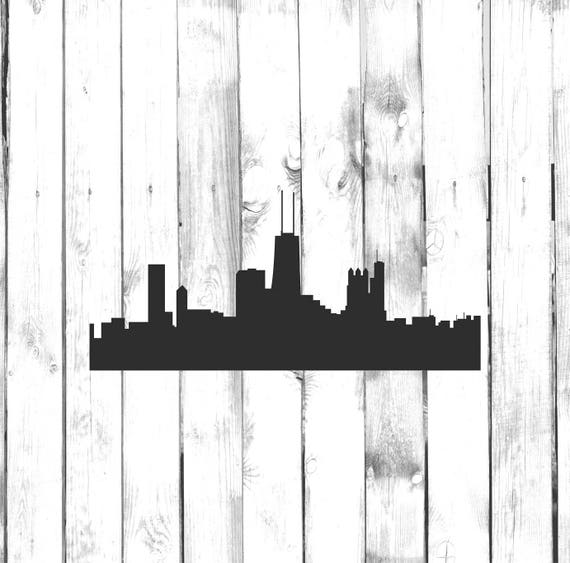 chicago skyline city skyline silhouette etsy