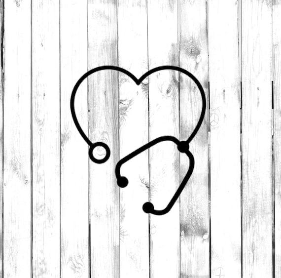 Heart Shaped Stethoscope Medical CarTruckComputerHomeLaptopBedroomPhone Decal