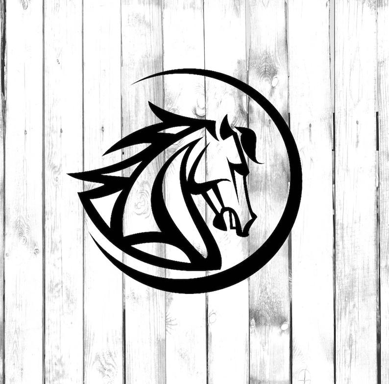 b4d547dbc Horse Head in Circle Tribal Tattoo Design | Etsy