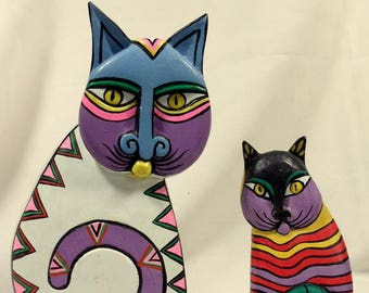 Vintage Carved Painted Cat Figurines Laurel Burch Look Modern Cats Set of 2