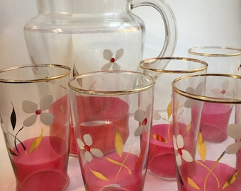 Vintage 1950 Cranberry Glass and Pitcher Set 6 Glasses and Pitcher