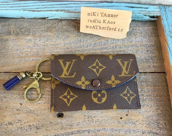 531808b54cb6 Handmade -Repurposed Upcycled Louis Vuitton Canvas- and Genuine Leather  Card Wallets