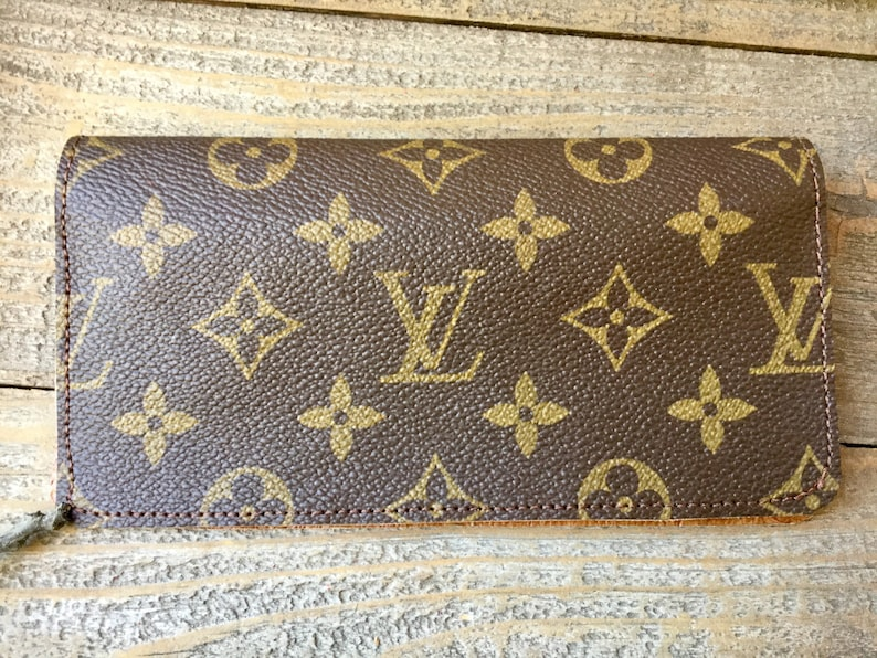 c90bd302f029 Upcycled Louis Vuitton Canvas Checkbook Cover made with