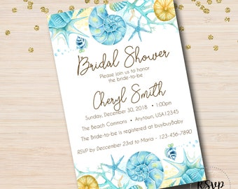 Seashell Invitation Etsy