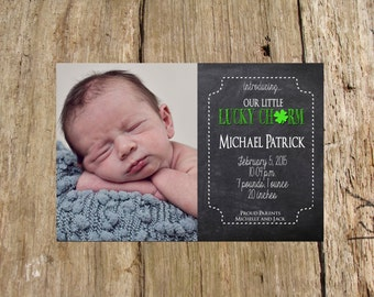 Customized Chalkboard St. Patrick's Day Photo Card, Birth Announcement