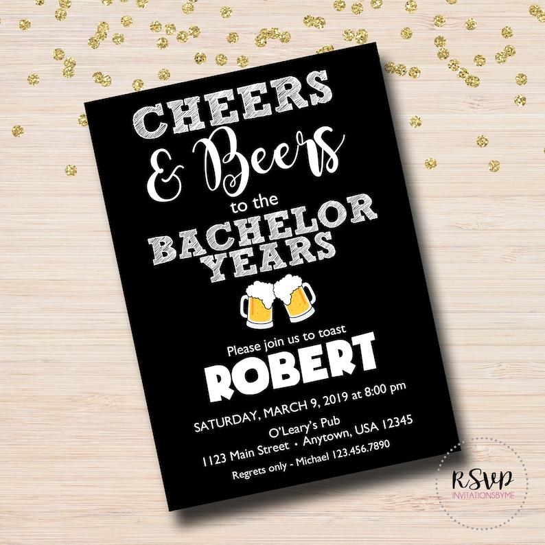 BachelorBachelorette Stag Party Milestone birthday Cheers invitation