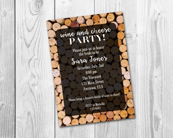 Wine and Cheese Wine Tasting Bachelorette Party Bridal Shower Invitation