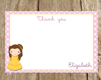 Personalized Princess Party Thank You Flat Note Card, digital DIY printable
