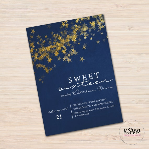 night under the stars invitation etsy