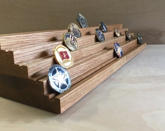 23 inch, 5 tier, Solid OAK- Challenge Coin Holder - Holds 65 to 70 Coins. (Stadium Seating Style)