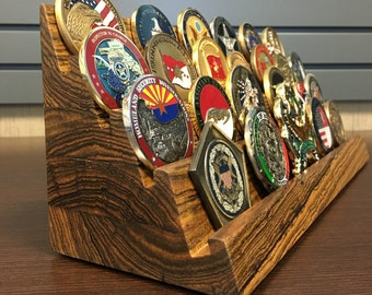 12 Inch Wide - 4 tier - Solid Bocote Exotic Hardwood w/ oil & wax finish -  Challenge Coin Holder - Holds 24 to 28 Coins (Castle Wall Style)