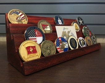 12 Inch Wide - 4 Tier - African Padauk (Vermillion) Hardwood - Challenge Coin Holder - Holds 24-28 Coins (Castle Wall Style)   Ships Now!