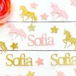 Personalized Unicorn Confetti, Pink and Gold Unicorn Confetti, Table Confetti, Birthday Confetti, Party Decorations, Unicorn Party, Confetti