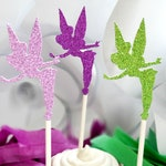 Tinkerbell Cupcake Toppers in Purple, Lavender and Apple Green, Fairy Party Ideas, Cupcake Toppers, Fairy Birthday, Cake Topper