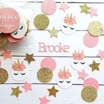 Personalized Pink and Gold Unicorn Party Confetti