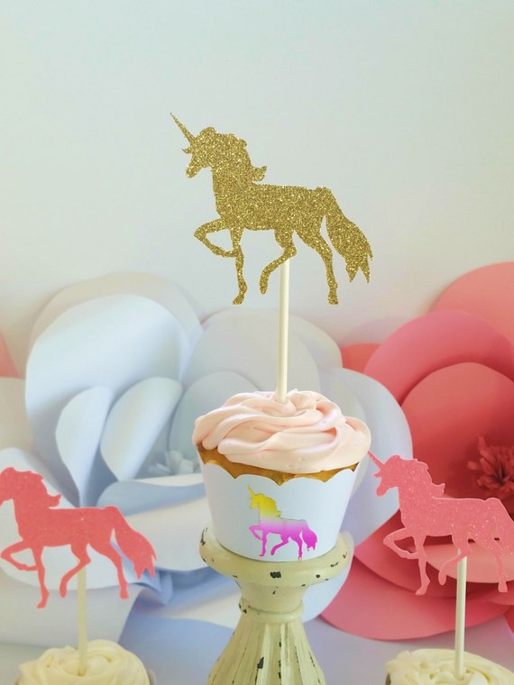 Pink And Gold Unicorn Cupcake Toppers Party Supplies
