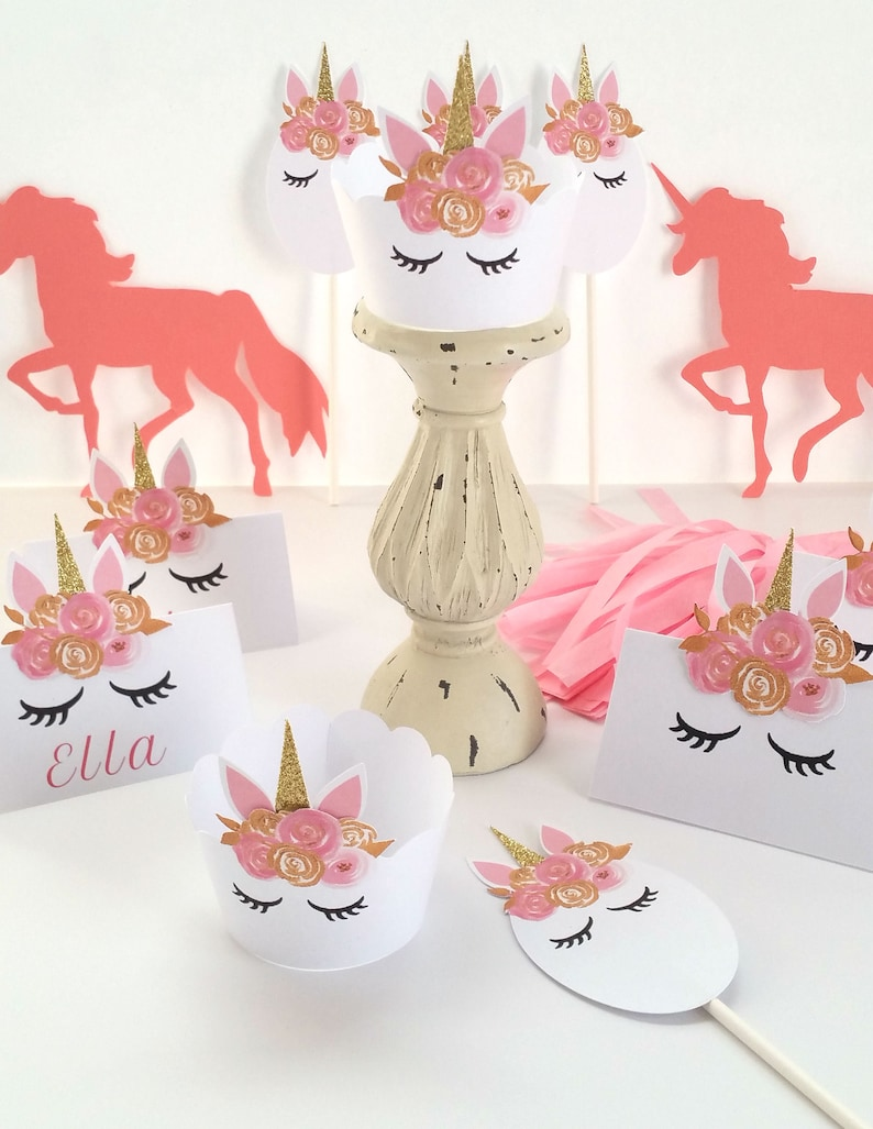 Pink and Gold Unicorn Cupcake Wrappers | Etsy