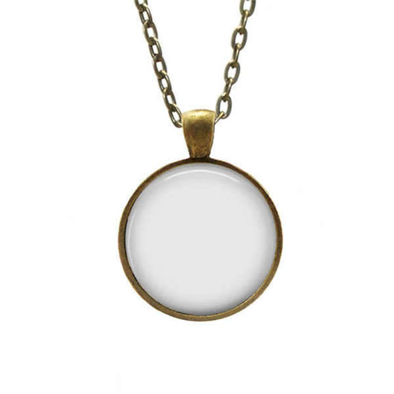 Pendant Mockup Digital PNG or/and PSD template for round 1 inch setting  bronze pendant with rolo chain on white background 1565