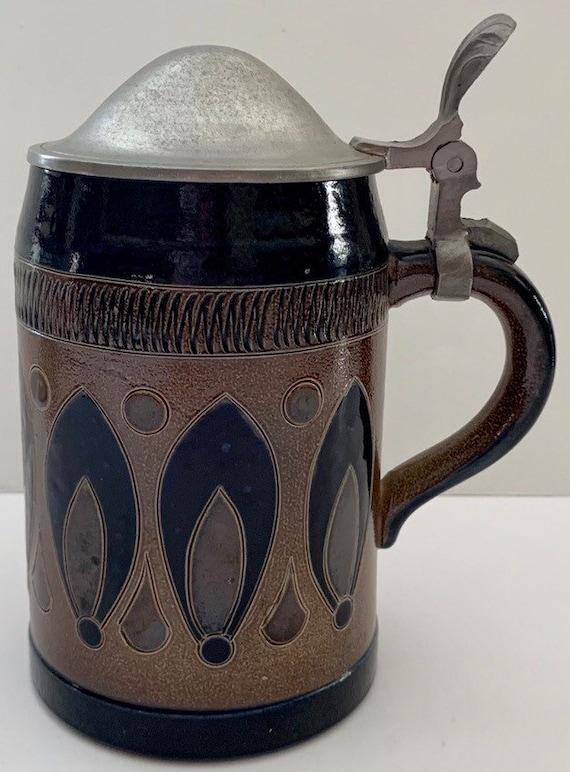 Beautiful Vintage PAUL KRUFT STONEWARE German  Salt Glaze Decanter Jug /& Stopper with Browns Cobalt Blue Designs Stamped and Artist Signed