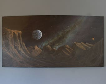 Cliff Moon Space Art Painting