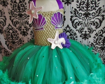 Little Mermaid Costume/Little Mermaid Dress/Mermaid Costume/Mermaid Dress/Feather Tutu/Green Dress/Princess Costume/Mermaid Party outfit