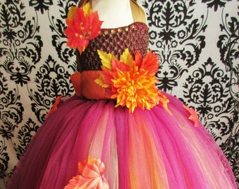 509b0637cc55 Autumn Theme Dress/Fall Wedding Dress/Autumn Colors Dress/Pumpkin Spice  Dress/Thanksgiving Outfit/Girls' Dresses/Baby Girls Dress/Weddings