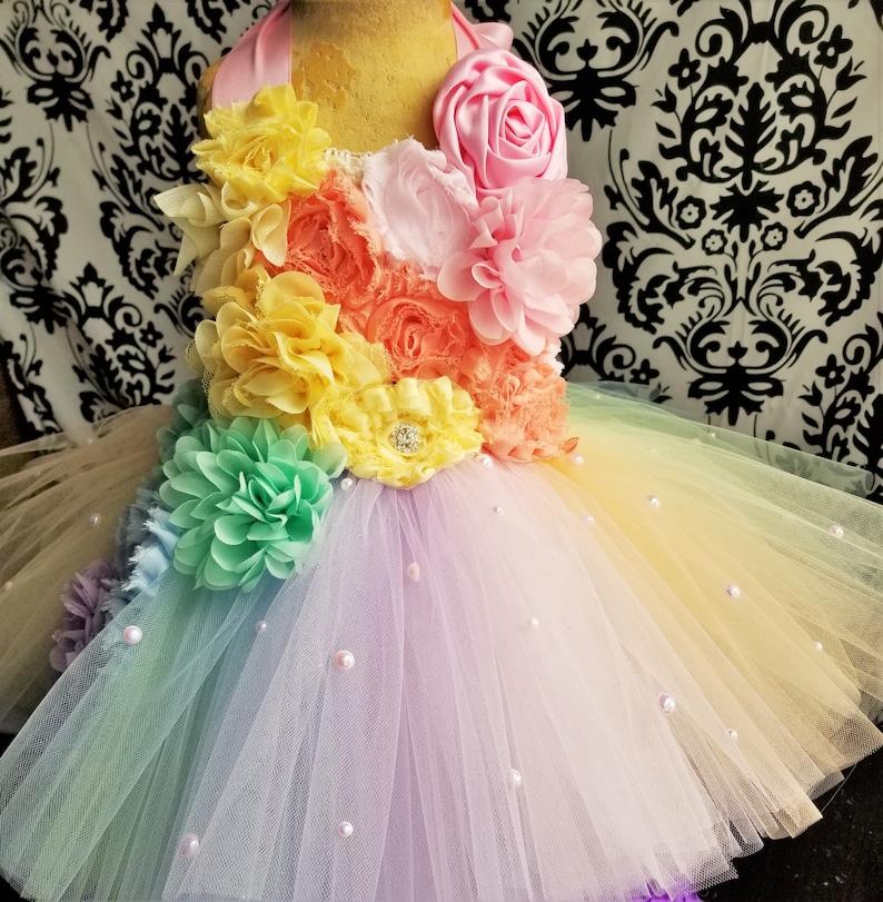 Rainbow Pastel DressPastel Rainbow OutfitRainbow Baby DressGirls/' DressesBaby Girl DressesBirthday OutfitRainbow BirthdayRainbow Tutu