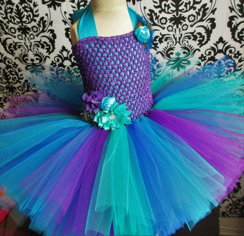 ec5287f835e Peacock Tulle Dress Peacock Wedding Dress Flower Girls