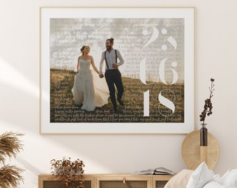 Song Lyrics Print with Photo, Personalised Wedding Gift for Her or Him, Paper Anniversary Wedding Vows Date 1st 1 First Year Text Wrap[160d]