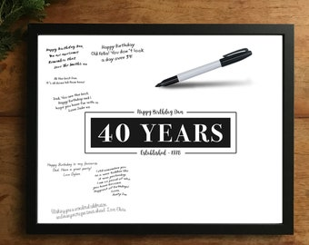 40th Birthday Guestbook Print Party Signing Poster Forty Decorations Personalised Sign