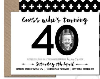 40th Birthday Invitation Black And White Milestone Adult Photo Simple 30th 50th 60th 70th PDF JPEG